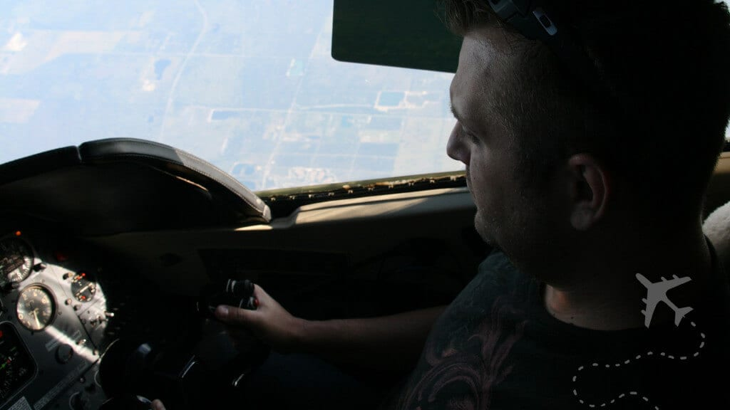 Sean Brown flying a private jet
