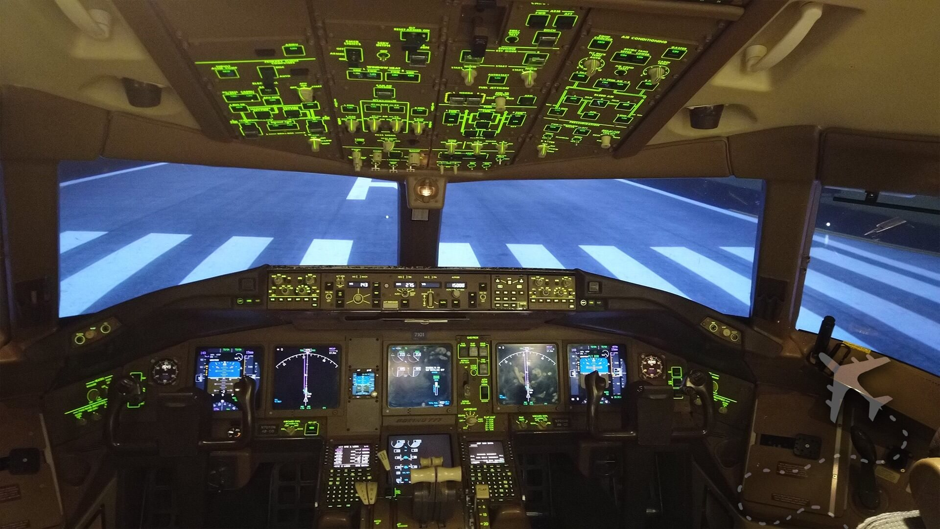 Flight deck of B777